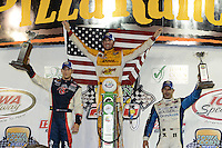 Ryan Hunter-Reay, Marco Andretti, Tony Kanaan, Iowa Corn Indy 250, Iowa Speedway, Newton, Iowa 06/23/12