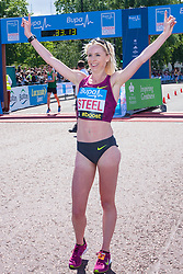 London, May 25th 2014. Gemma Steel celebrates after winning the women's Bupa London 10,000 in a time of 32 minutes and 32 seconds.
