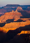 Early morning light strikes Angels Gate, Grand Canyon National Park in Arizona.