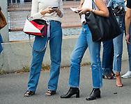 Jeans and Loewe Bag, Outside Yeezy Season 4