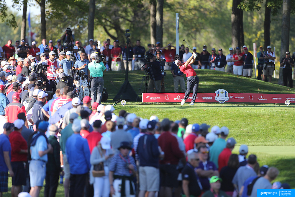 Ryder Cup 2016. Day One. Ryan Moore of the United States in action during the Friday afternoon four-ball competition during the Ryder Cup at  Hazeltine National Golf Club on September 30, 2016 in Chaska, Minnesota.  (Photo by Tim Clayton/Corbis via Getty Images)