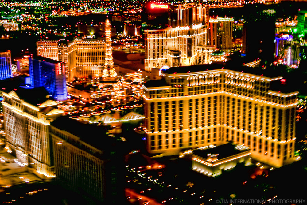 Night Aerial View, Las Vegas Strip featuring the Paris & Bellagio Hotels