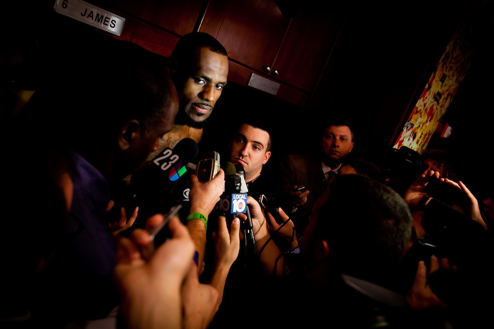 MIAMI, FL -- January 29, 2012 -- Miami forward LeBron James speaks with the media in the locker room after the Heat's 97-93 win over the Chicago Bulls at American Airlines Arena in Miami, Fla., on Sunday, January 29, 2012.  (Chip Litherland for ESPN the Magazine)