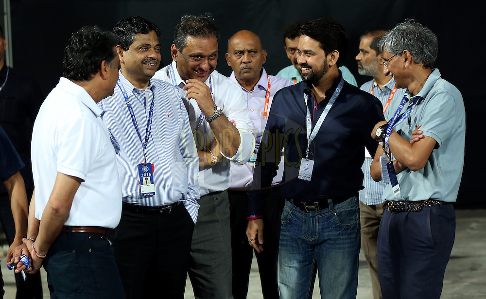 Ratnakar Shetty is the BCCI's head of operations , BCCI secretary Anurag Thakur and IPL governing council member Ajay Shirke during match 1 of the Vivo Indian Premier League ( IPL ) 2016 between the Mumbai Indians and the Rising Pune Supergiants held at the Wankhede Stadium in Mumbai on the 9th April 2016<br /> <br /> Photo by Sandeep Shetty/ IPL/ SPORTZPICS