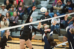 Vale sophomore Preslee Jensen spikes during the 2015 OSAA 3A Volleyball State Championship, Round 1, Vale - St. Mary's at  Vale High School, Vale, Oregon. October 31, 2015.<br /> <br /> Vale defeated St. Mary's of Medford in three games 25-10,  25-8, 25-13, improving their season record to 24-2.