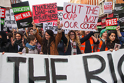 London, November 19th 2014. Thousands of students march through central London, demanding that education fees are scrapped by the government.