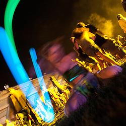 Illuminated hulas at the Balkan Beat Box set on the Main Stage.