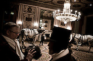 The horses that will be entering the ballroom for the opening of the Viennese Opera Ball, are prepared and waiting in a back room at the Waldorf  Astoria Hotel...The Viennese Opera Ball in New York City is the biggest and most famous of New York's charity balls...In New York City separate worlds coexist without necesseraily ever meeting. Some are virtually closed to outsiders...The world of New York's society often meets in the grand ballrooms of the city's most prestigeous hotels, such as The Pierre, The Plaza and The Waldorf Astoria. They meet at big balls to dine, dance and donate money to charity through auctions held at the balls. Parts of the proceeds from tickets, which are in the range of $1000/person, also go to charity.