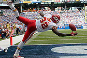 Kansas City Chiefs wide receiver Dwayne Bowe makes a one-handed catch for a touchdown against the Indianapolis Colts in the third quarter of an NFL football game in Indianapolis, Sunday, Oct. 9, 2011. (AP Photo/AJ Mast)