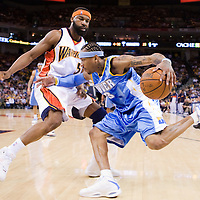 10 April 2008: #3 Allen Iverson of the Denver Nuggets drives past #5 Baron Davis of the Golden State Warriors during the Denver Nuggets 114-105 victory over the Golden State Warriors at the Oracle Arena in Oakland, CA.