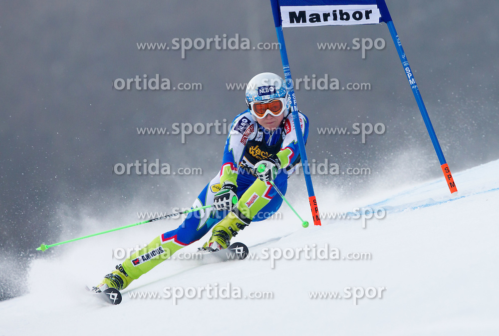 "DREV Ana of Slovenia competes during 1st Run of FIS Alpine Ski World Cup 7th Ladies' Giant Slalom race named ""49th Golden Fox 2013"", on January 26, 2013 in Mariborsko Pohorje, Maribor, Slovenia. (Photo By Vid Ponikvar / Sportida.com)"