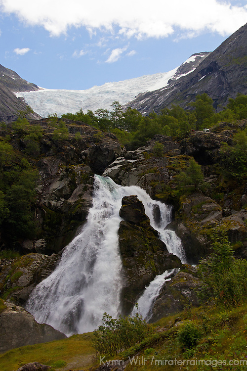 Europe, Norway, Olden. Briksdal Glacier and waterfalls.