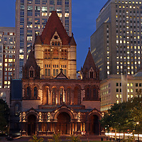 Historic landmark photography image of the Boston Trinity Church on a beautiful summer night captured shortly after sunset at twilight. The Trinity Church in the City of Boston is a Christian thriving community located in the Back Bay of Boston, Massachusetts. <br />