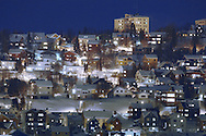 Tromsø city lights on a winter night, Norway.