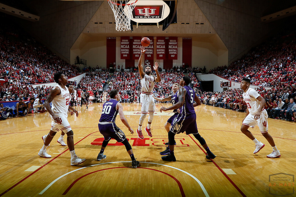 Indiana guard James Blackmon Jr. (1) in action as Northwestern played Indiana in an NCCA college basketball game in Bloomington, Ind., Saturday, Feb. 25, 2017. (AJ Mast)