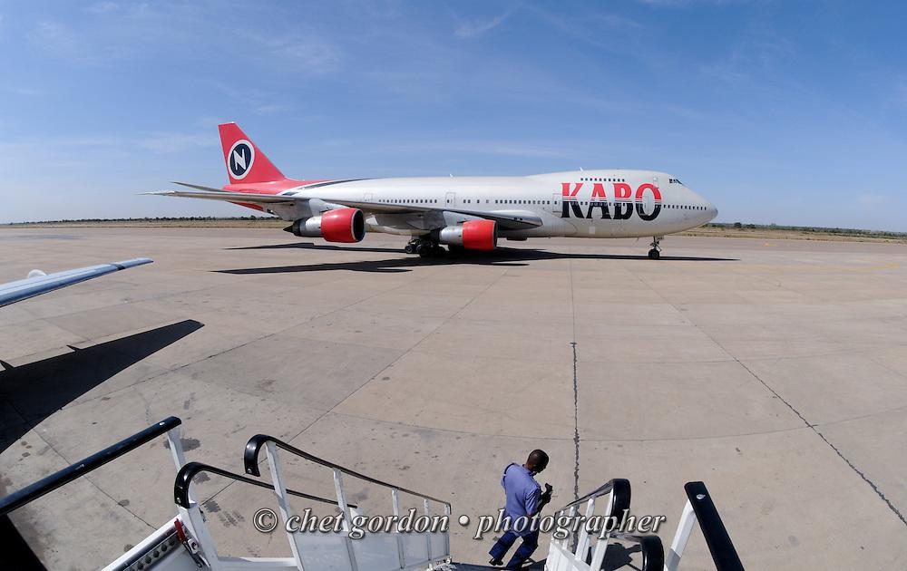 A Kabo Air Boeing 747 aircraft parked at Mallam Aminu Kano International Airport in Kano, Nigeria on Friday, December 7, 2012.