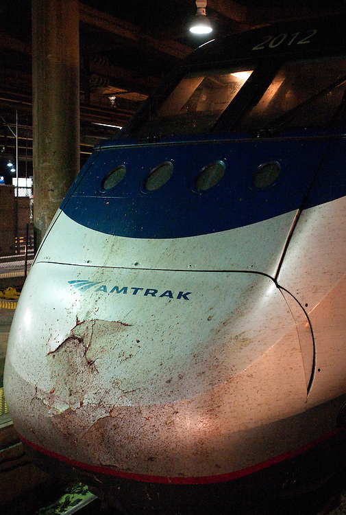 The front of Amtrak 2165, which struck and killed a woman just northeast of Trenton, NJ.