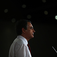 Jose Luis Rodriguez Zapatero, Spain's prime minister,  during his speech at the Bilbao Exhibition Centre on Wednesday, Feb. 27, 2008 in Barakaldo, Spain. Zapatero is running against Mariano Rajoy, Spain's People's Party leader in the upcoming March 9th election.