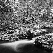 Tremont Creek Cascade Pools - Great Smoky Mountains - Autumn - Infrared Black & White