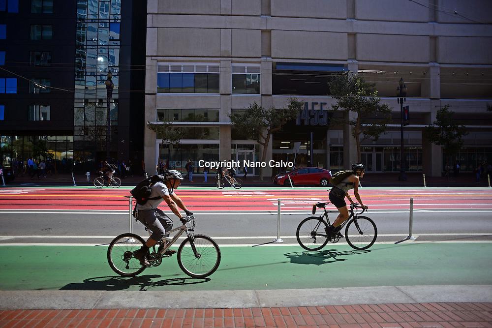 Bicycle lane in Market Street, San Francisco.