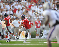 Ole Miss quarterback Bo Wallace (14) runs at Vaught-Hemingway Stadium in Oxford, Miss. on Saturday, September 1, 2012. (AP Photo/Oxford Eagle, Bruce Newman)..