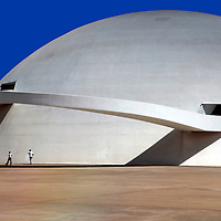 South America, Brazil, Brasilia.  The National Museum of the Republic, designed by architect Oscar Neimeyer, in Brasilia, a UNESCO World Heritage Site.