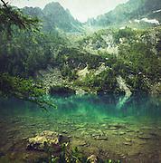 Mountain lake in the Italian Alps near Chiesa in Valmalenco