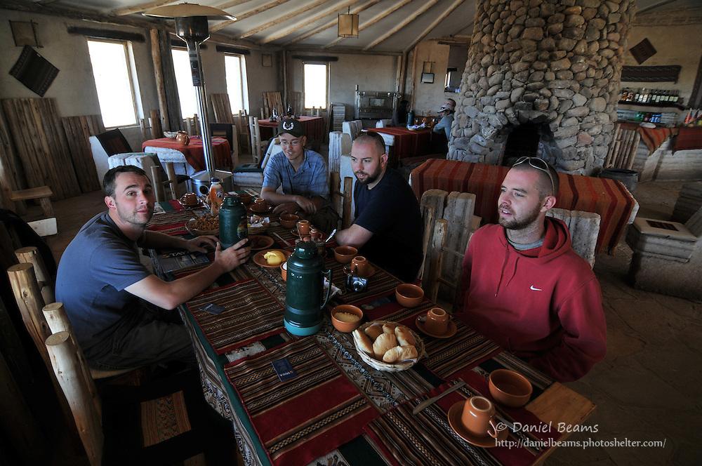 Breakfast at a salt hotel in Tahua, Bolivia