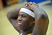 9/27/10 1:19:17 PM -- Denver, CO, U.S.A. -- Denver Nuggets forward Al Harrington flashes a smile as he answers reporters questions during media day at the Denver Nuggets practice facilities at the Pepsi Center in Denver, Co. Harrington was signed by the team as a free agent in the off season. Trade rumors have been swirling around the Nuggets' Carmelo Anthony, a three-time All-Star forward on the team, as the team's coach George Karl finds his way back to the sidelines after missing the end of the season and playoffs last year recovering from throat cancer. -- ...Photo by Marc Piscotty, Freelance