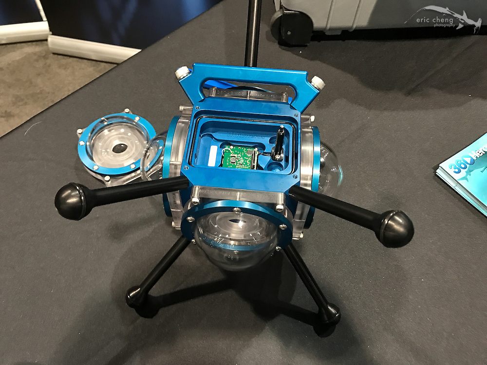 360Abyss underwater housing for 6 x GoPro cameras, by 360RIZE(DEMA 2016, Las Vegas)