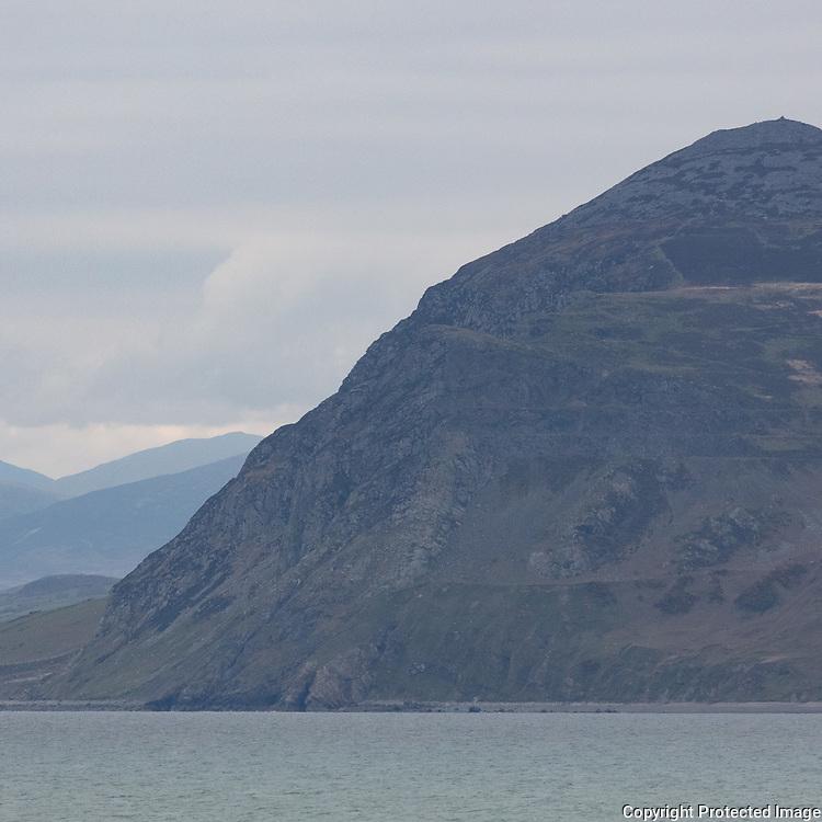 Garn Fôr the northern most summit of Yr Eifl that rises 444 metres from the Irish Sea, Llŷn Peninsula, Gwynedd.