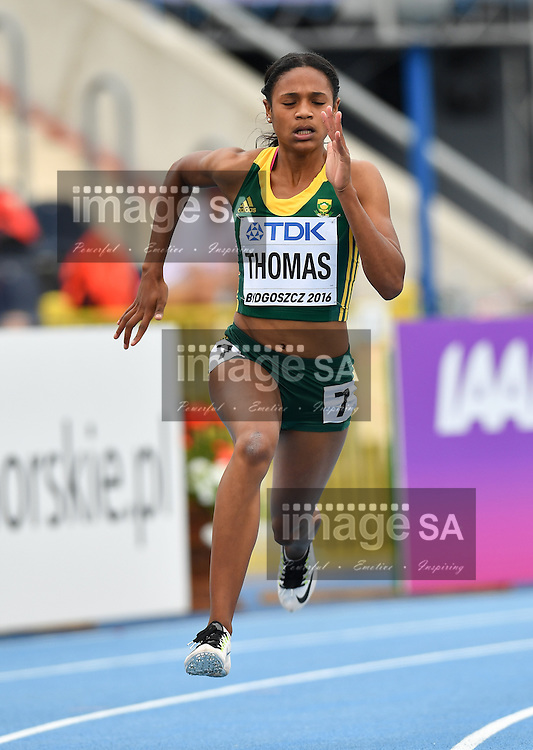 BYDGOSZCZ, POLAND - JULY 22: Tamzin Thomas of South Africa in the heats of the women's 200m during day 4 of the IAAF World Junior Championships at Zawisza Stadium on July 22, 2016 in Bydgoszcz, Poland. (Photo by Roger Sedres/Gallo Images)