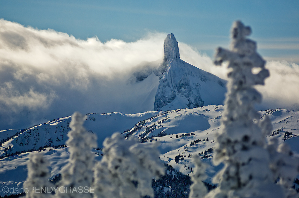 "An early winter storm clears from ""Black Tusk"", one of the most identifiable mountain peaks in British Columbia's Coast range."