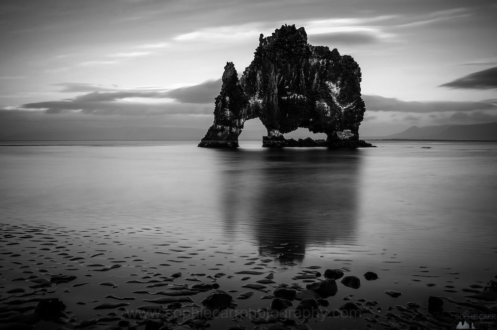 Black & White shot of the Hvitserkur volcanic stack in north-west Iceland
