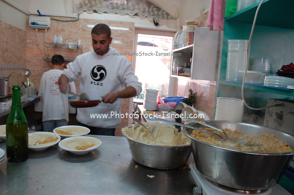 Israel, Acre, The food market in the old city A Hummus restaurant,