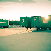 Empty trailers sitting at an Atlanta trucking D.C.