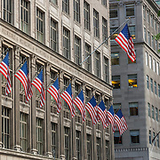 American flags on building. New York. NY, USA.
