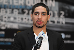 Aug 30, 2012; Brooklyn, NY, USA; Unified Super Lightweight Champion Danny Garcia speaks at the press conference at New York Marriott at the Brooklyn Bridge. The press conference announced the upcoming October 20th card at the Barclay's Center.