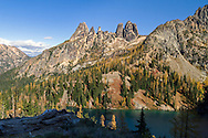 The Early Winter Spires and Liberty Bell Mountain at Blue Lake in the North Cascades of the Okanogan-Wenatchee National Forest in Washington State, USA.