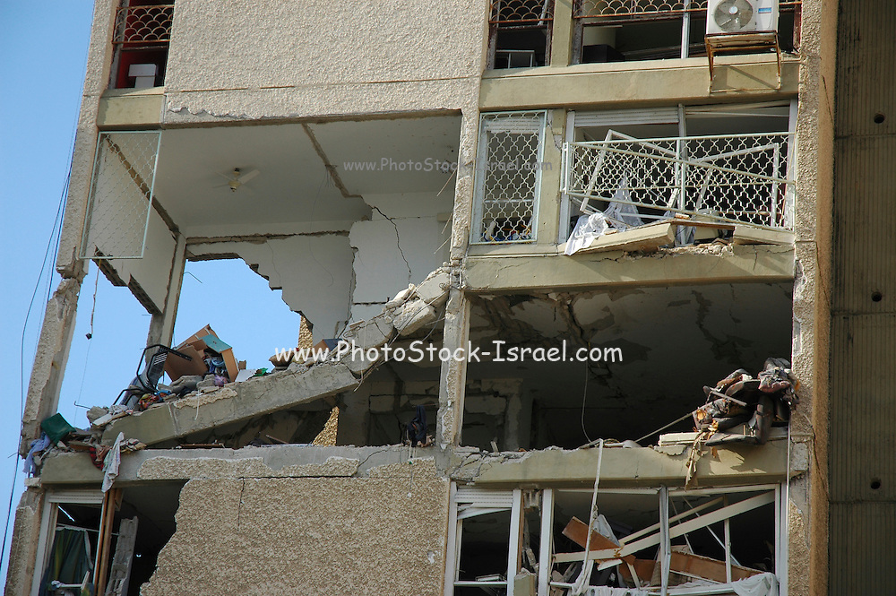 Israel, Haifa, An apartment building hit by a missile March 30th 2006