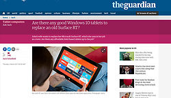 The Guardian; Woman using Surface RT tablet computer.