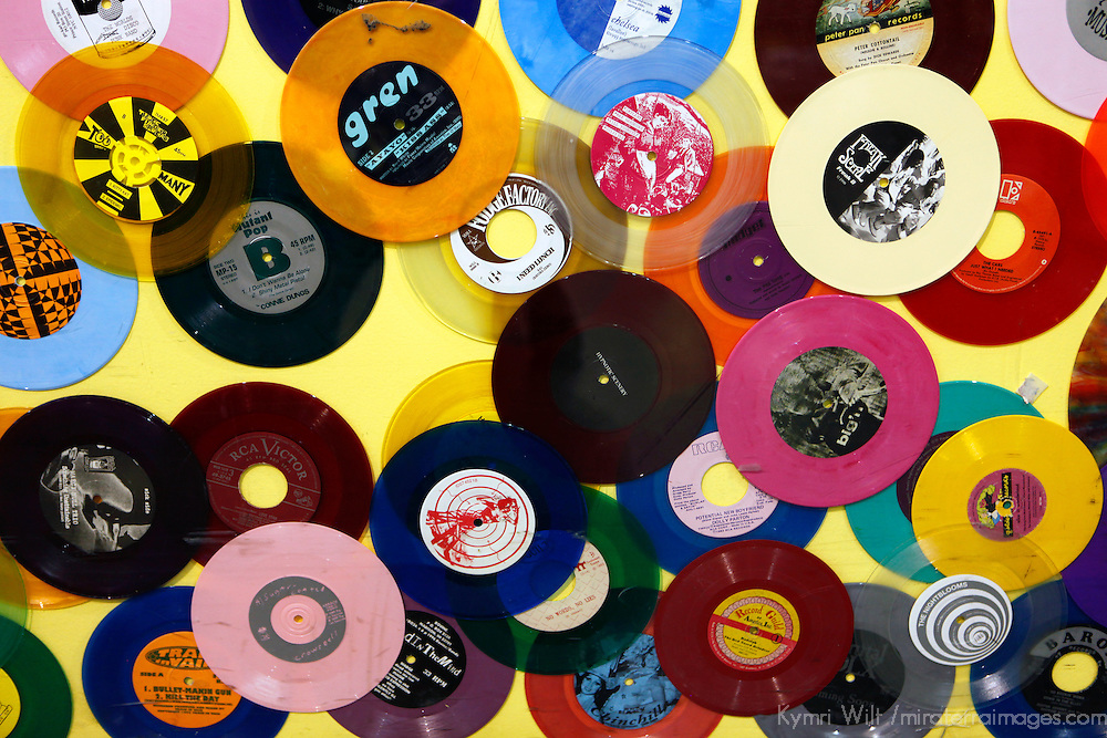 USA, California, Los Angeles. Vinyl 45's at Amoeba Music Store in Hollywood.