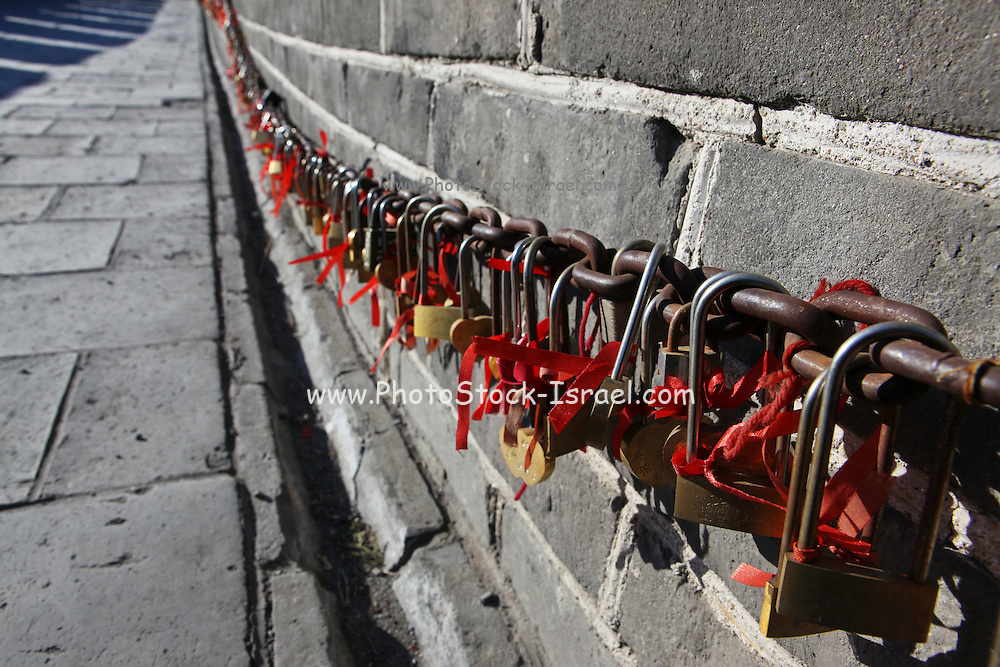 View of the Great Wall of China Locks and red ribbons
