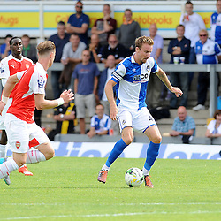 Chris Lines of Bristol Rovers threads his way through the Arsenal defence - Photo mandatory by-line: Neil Brookman/JMP - Mobile: 07966 386802 - 18/07/2015 - SPORT - Football - Bristol - Memorial Stadium - Pre-Season Friendly