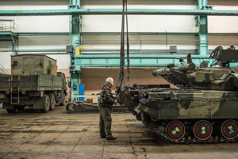 The tank assembly line at the Malyshev Tank Factory on Wednesday, February 11, 2015 in Kharkiv, Ukraine.