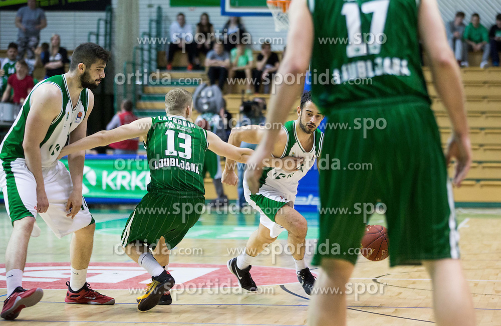 Miha Lapornik #13 of KK Union Olimpija Ljubljana vs Stefan Sinovec #5 of Krka during basketball match between KK Krka and KK Union Olimpija Ljubljana in 5th Round of Nova KBM Champions League 2015/16, on April 13, 2016 in Sports hall Leon Stukel, Novo mesto, Slovenia. Photo by Vid Ponikvar / Sportida
