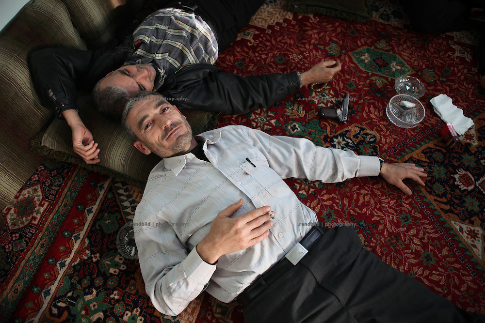 Abdelaziz Al-Ajini takes a short  during the UN brokered ceasefire in his village of Courine, Syria. Courine was been attacked by ground troops on February 22, 2012. In its aftermath air force helicopters fired rockets several times in to the 7000 inhabitants counting village south of Idlib city. Courine is a stronghold of opposition.