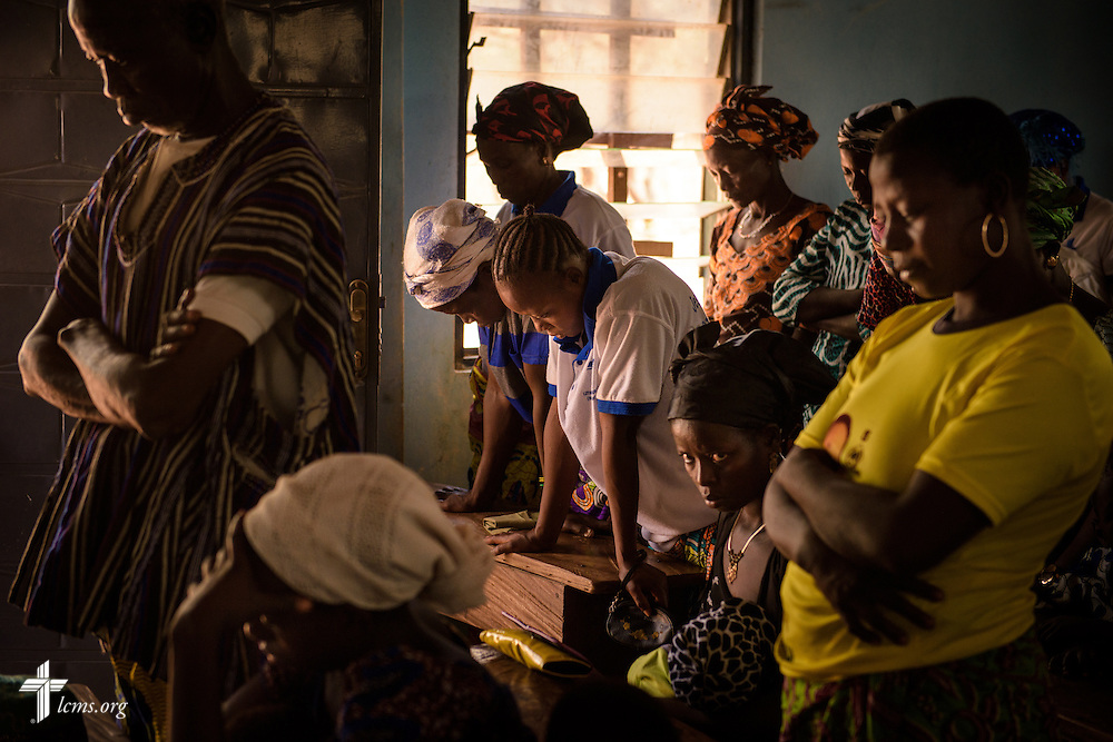 Parishioners pray during Bible study at the Lutheran Church of Togo in Lokpano, the first Lutheran church planted in Togo, on Monday, Feb. 13, 2017, in Lokpano, Togo. LCMS Communications/Erik M. Lunsford