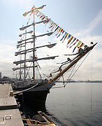 The Russian three-masted tall ship Pallada is docked at the cruise ship dock at Bell St. pier in Seattle. (Greg Gilbert / The Seattle Times)