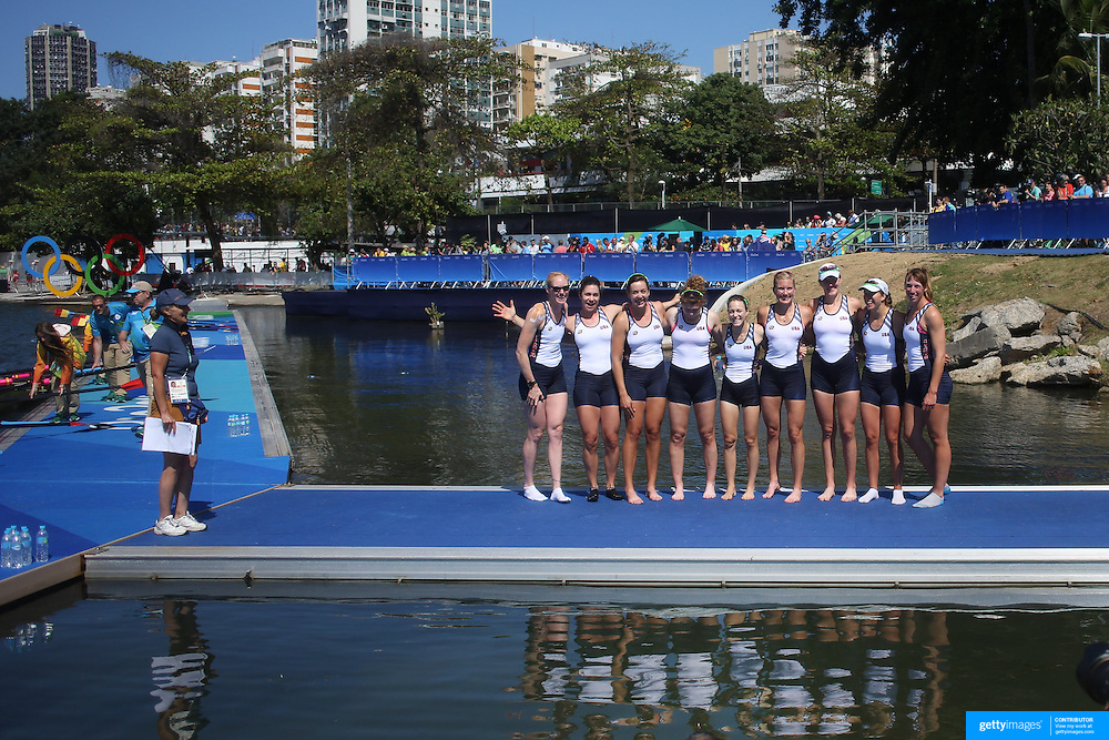 Rowing - Olympics: Day 8  The United States Women's Eights team of Emily Regan, Kerry Simmonds, Amanda Polk, Lauren Schmetterling, Tessa Gobbo, Meghan Musnicki, Eleanor Logan, Amanda Elmore and Katelin Snyder after winning the gold medal during the Women's Eight Final at Lagoa Stadium August 13, 2016 in Rio de Janeiro, Brazil. (Photo by Tim Clayton/Corbis via Getty Images)